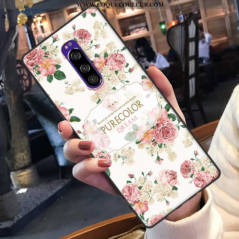 Coque Sony Xperia 1 Protection Rose Téléphone Portable, Housse Sony Xperia 1 Ornements Suspendus Sil