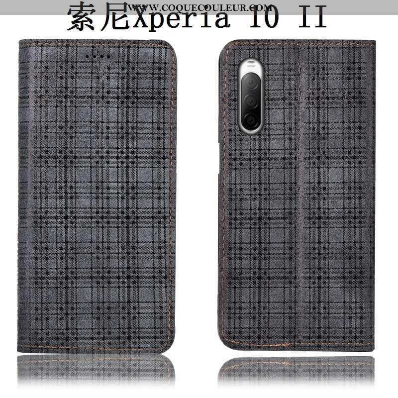 Coque Sony Xperia 10 Ii Protection Velours Étui, Housse Sony Xperia 10 Ii Cuir Véritable Gris