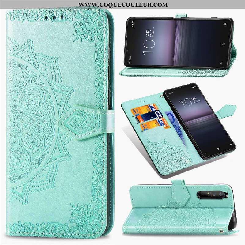 Housse Sony Xperia 10 Ii Cuir Incassable Clamshell, Étui Sony Xperia 10 Ii Protection Verte