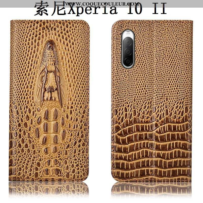 Étui Sony Xperia 10 Ii Cuir Véritable Crocodile, Coque Sony Xperia 10 Ii Protection Housse Khaki