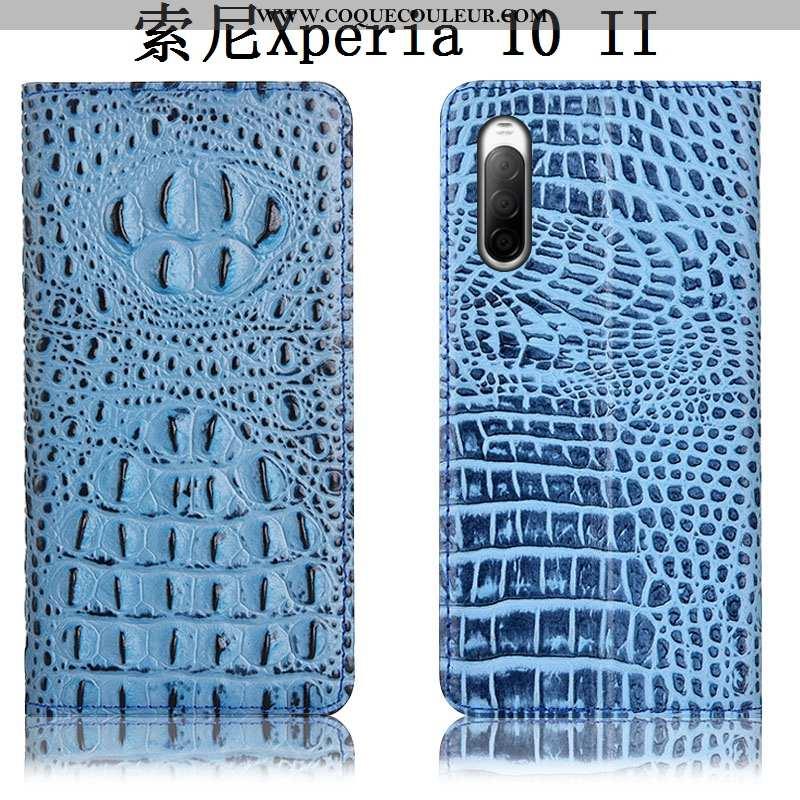 Coque Sony Xperia 10 Ii Cuir Véritable Incassable Téléphone Portable, Housse Sony Xperia 10 Ii Prote