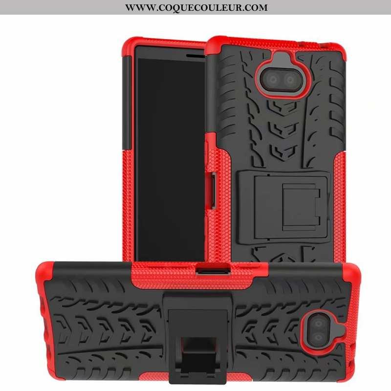 Étui Sony Xperia 10 Plus Protection Support Rouge, Coque Sony Xperia 10 Plus Personnalité Tout Compr
