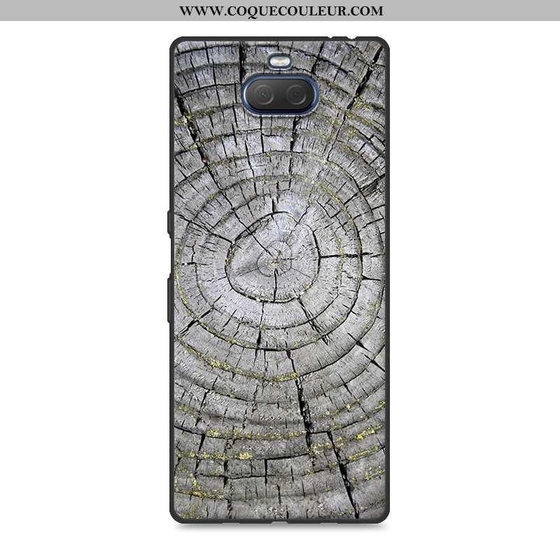 Housse Sony Xperia 10 Plus Créatif Silicone Étui, Étui Sony Xperia 10 Plus En Bois Protection Gris