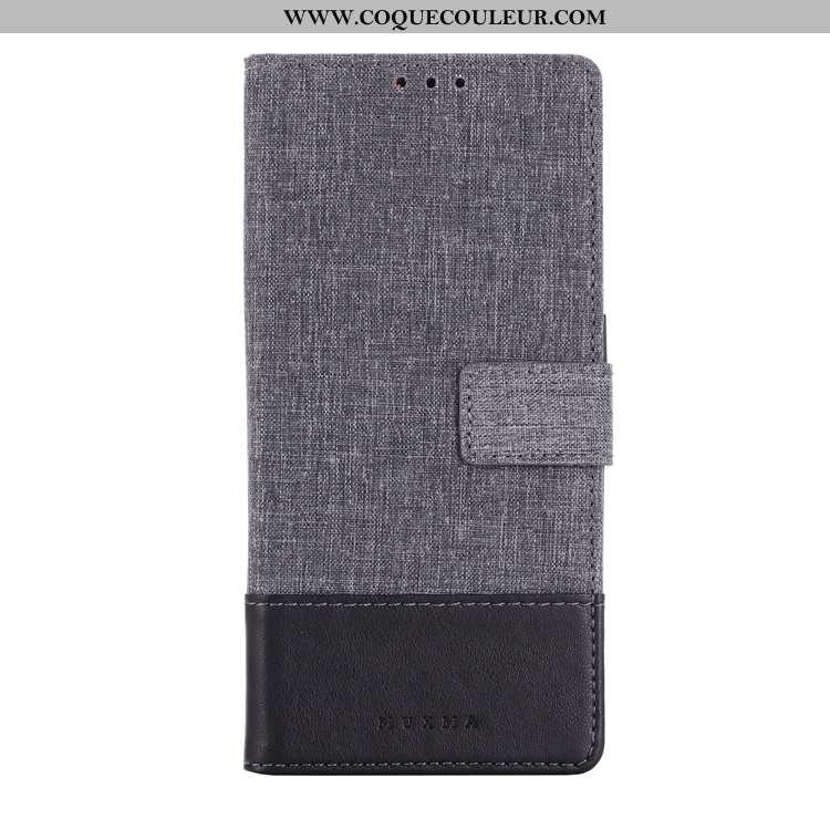 Housse Sony Xperia 10 Cuir Toile Coque, Étui Sony Xperia 10 Gris Téléphone Portable