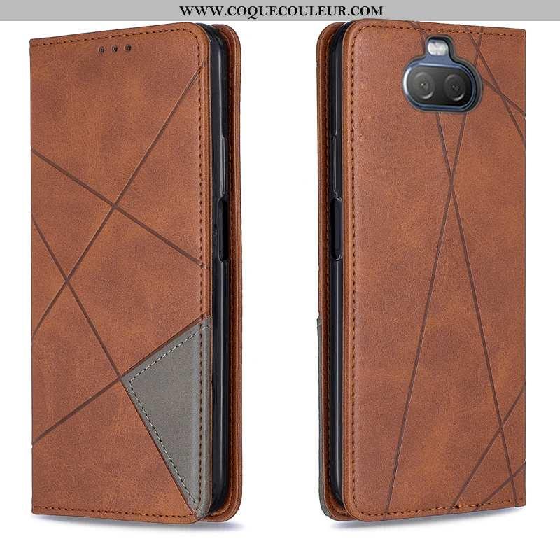 Coque Sony Xperia 10 Protection Étui Téléphone Portable, Housse Sony Xperia 10 Marron Automatique
