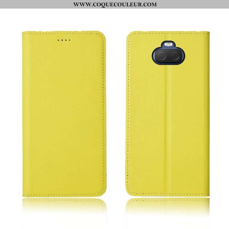 Housse Sony Xperia 10 Cuir Protection Délavé En Daim Véritable, Étui Sony Xperia 10 Fluide Doux Clam