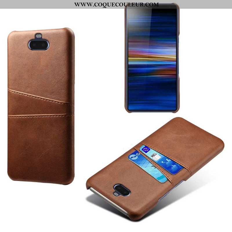 Coque Sony Xperia 10 Protection Étui, Housse Sony Xperia 10 Cuir Incassable Khaki