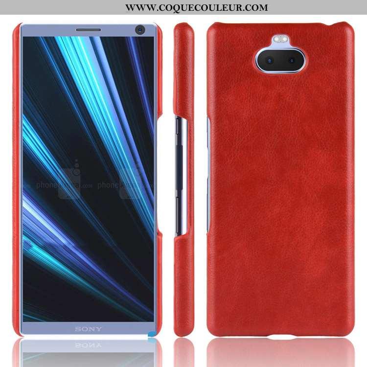 Étui Sony Xperia 10 Cuir Incassable Difficile, Coque Sony Xperia 10 Modèle Fleurie Rouge