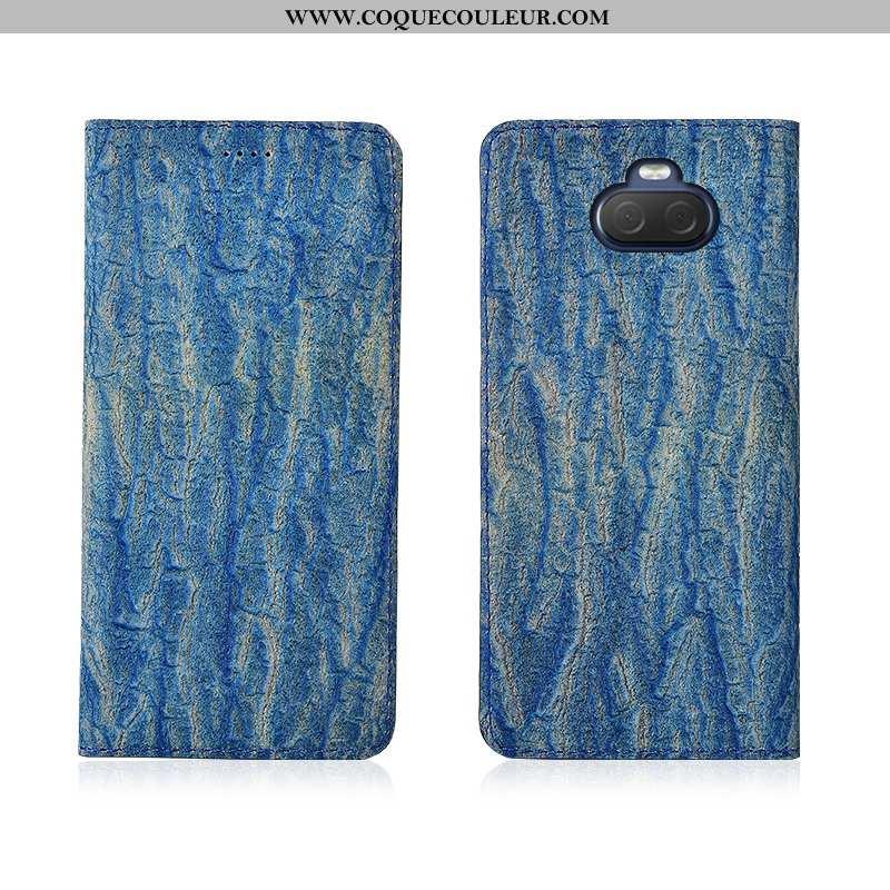 Étui Sony Xperia 10 Délavé En Daim Arbres Étui, Coque Sony Xperia 10 Cuir Silicone Bleu
