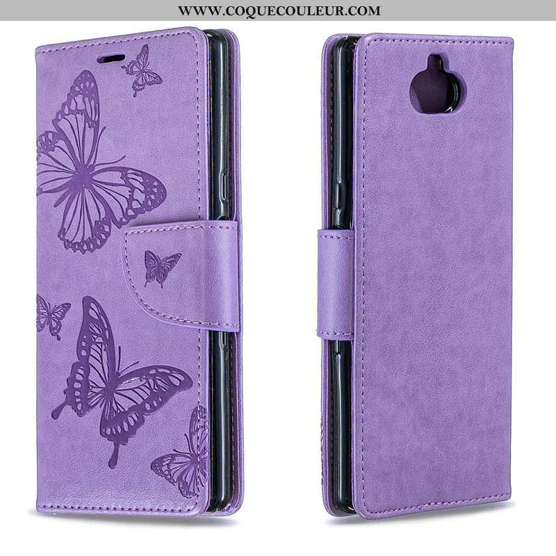 Housse Sony Xperia 10 Cuir Violet Gaufrage, Étui Sony Xperia 10 Protection Coque