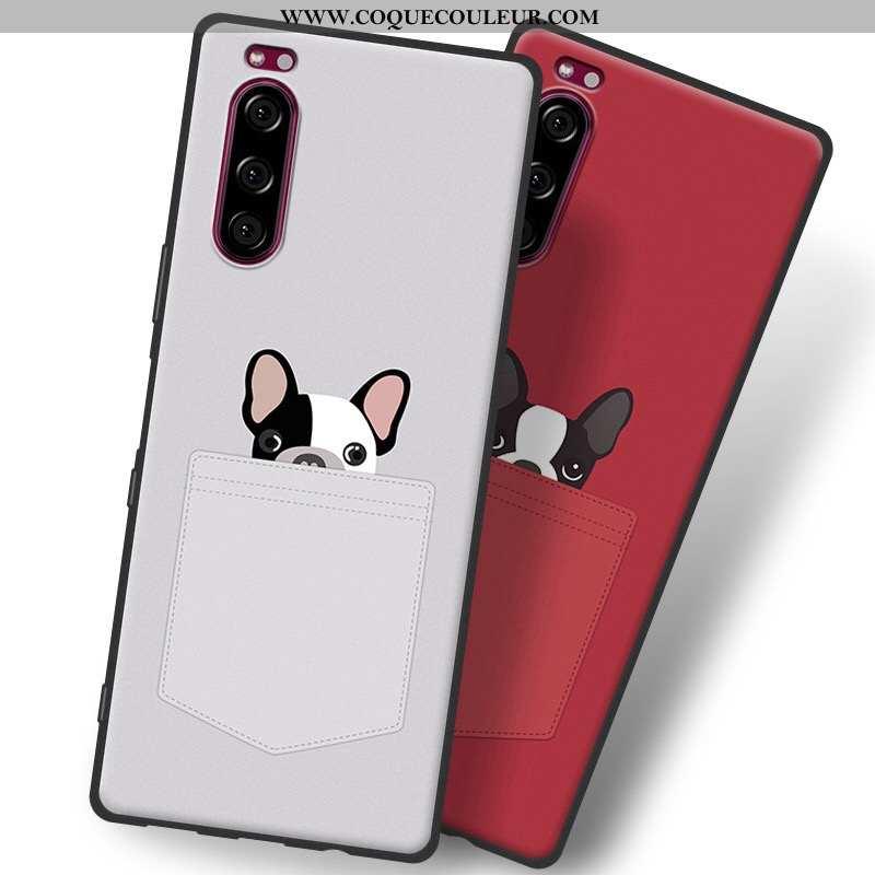 Étui Sony Xperia 5 Fluide Doux Gris Tout Compris, Coque Sony Xperia 5 Silicone Téléphone Portable