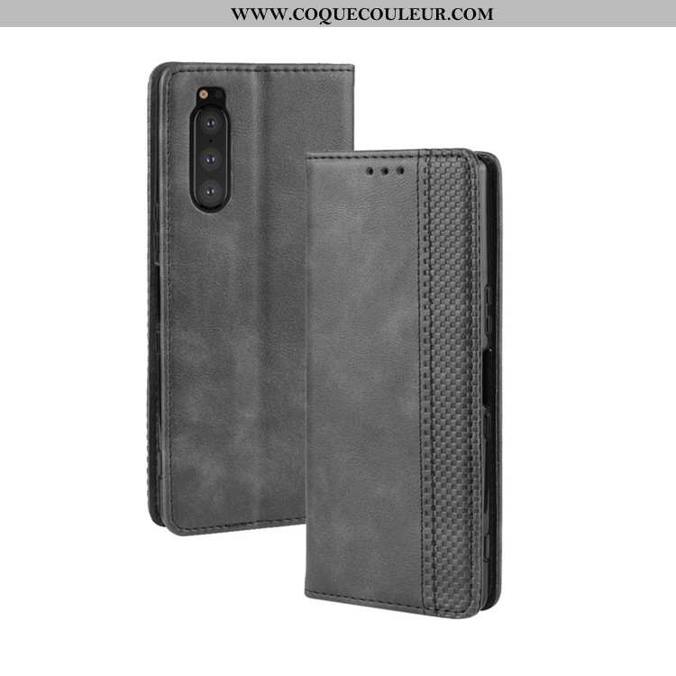 Étui Sony Xperia 5 Portefeuille Protection Noir, Coque Sony Xperia 5 Cuir Magnétisme Noir