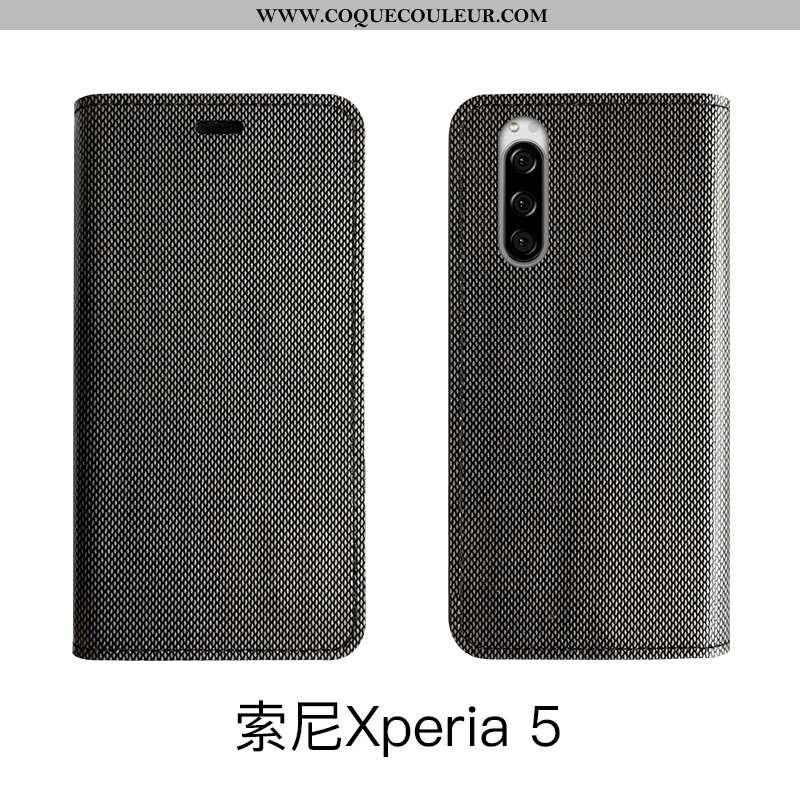 Étui Sony Xperia 5 Luxe Bovins Cuir, Coque Sony Xperia 5 Cuir Véritable Tout Compris Noir