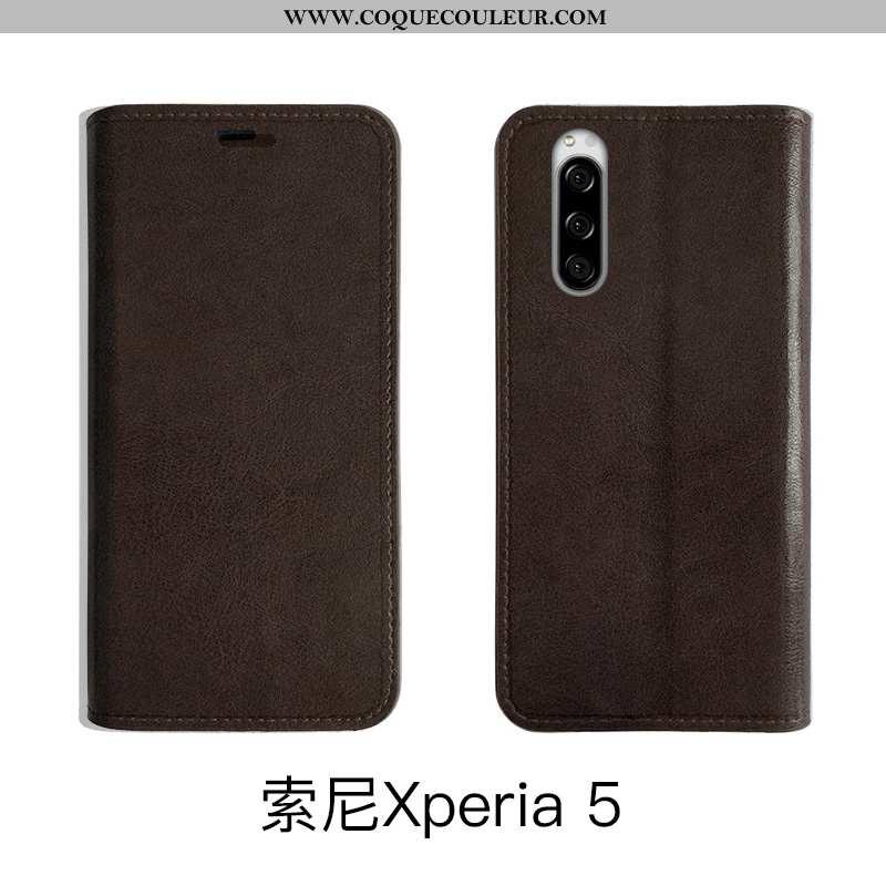 Coque Sony Xperia 5 Fluide Doux Vintage, Housse Sony Xperia 5 Protection Marron