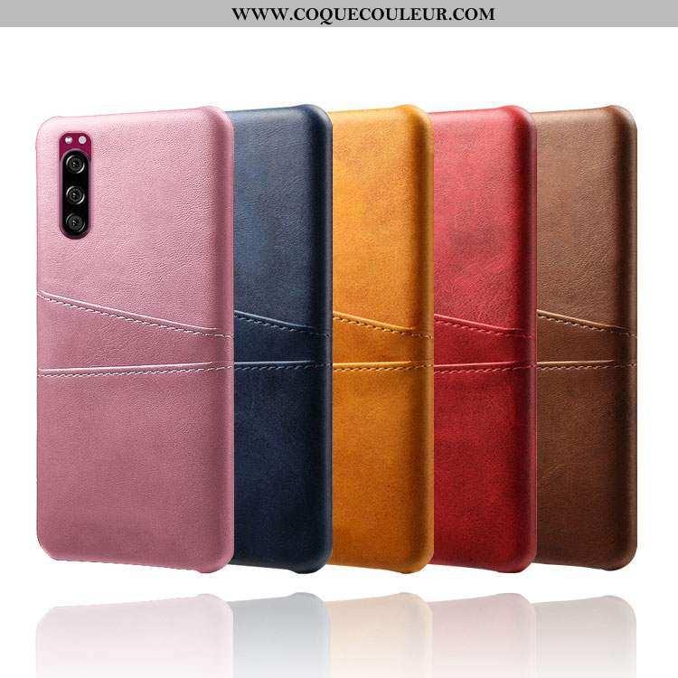 Coque Sony Xperia 5 Cuir Étui Téléphone Portable, Housse Sony Xperia 5 Protection Rose