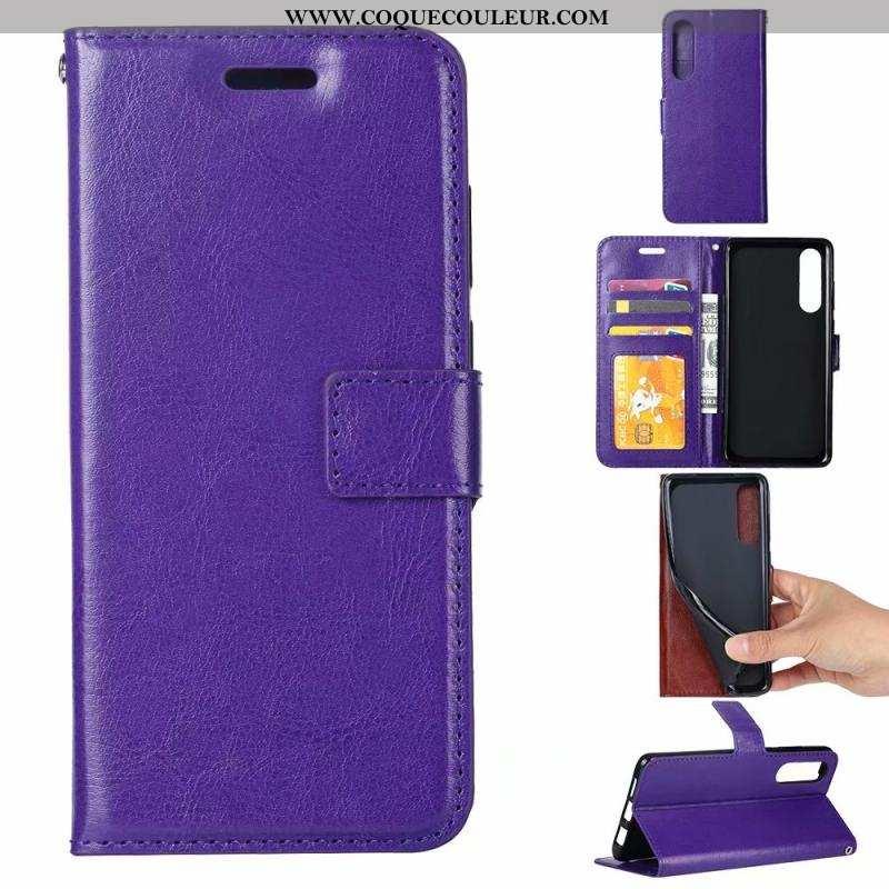 Étui Sony Xperia 5 Cuir Téléphone Portable Clamshell, Coque Sony Xperia 5 Modèle Fleurie Violet