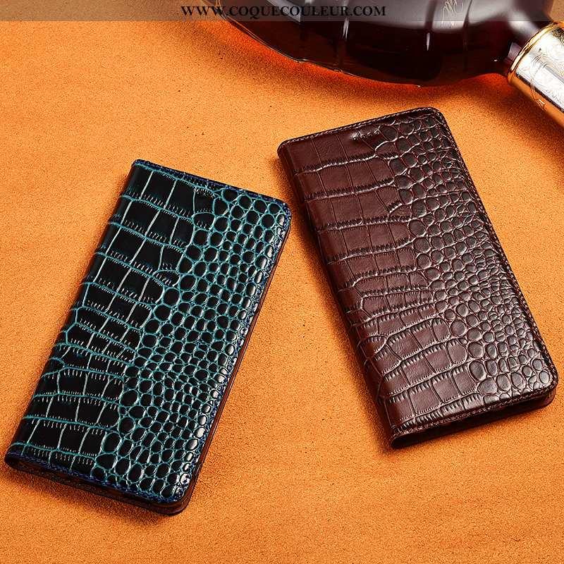 Coque Sony Xperia L1 Protection Crocodile Incassable, Housse Sony Xperia L1 Cuir Véritable Bleu