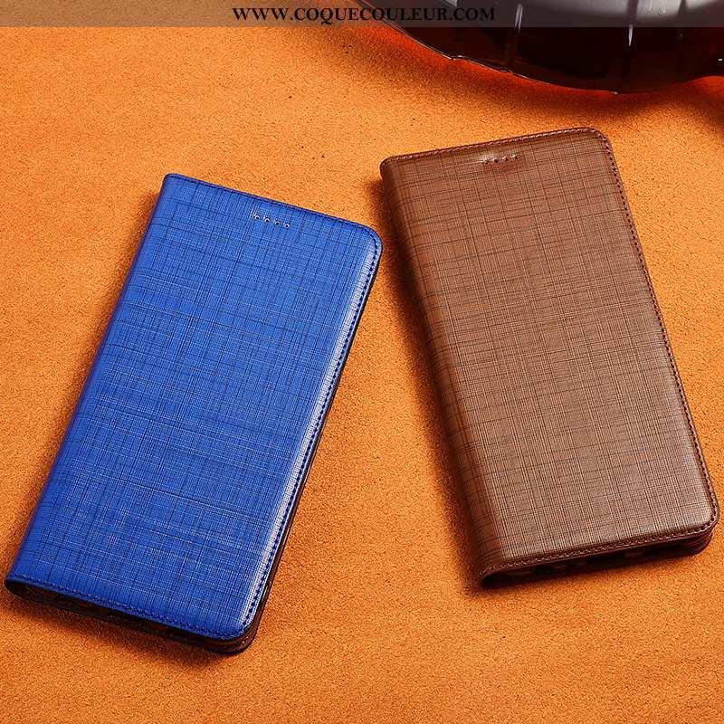 Étui Sony Xperia L1 Cuir Véritable Incassable, Coque Sony Xperia L1 Cuir Fluide Doux Bleu