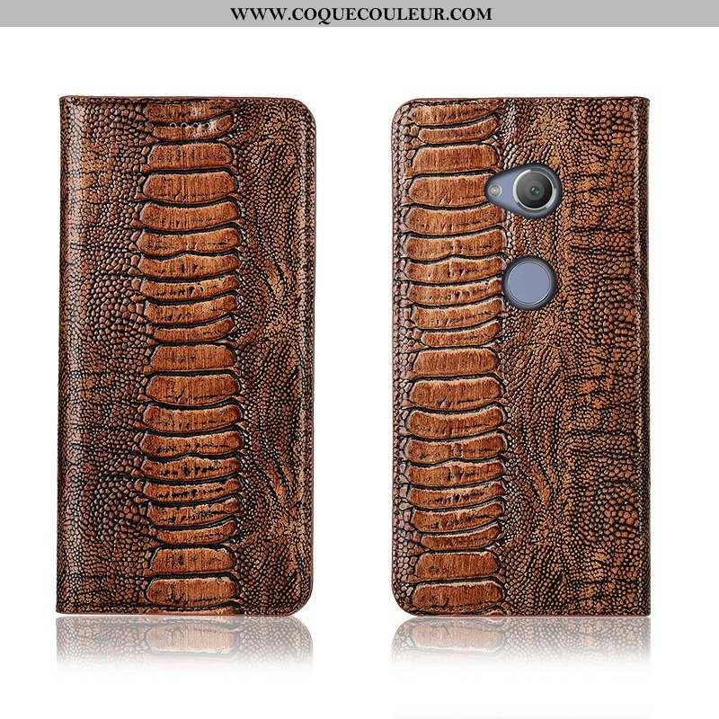 Coque Sony Xperia L2 Fluide Doux Nouveau Cuir Véritable, Housse Sony Xperia L2 Silicone Protection M