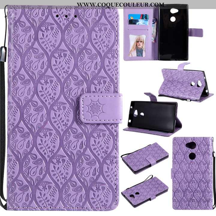 Étui Sony Xperia L2 Créatif Protection Téléphone Portable, Coque Sony Xperia L2 Cuir Violet