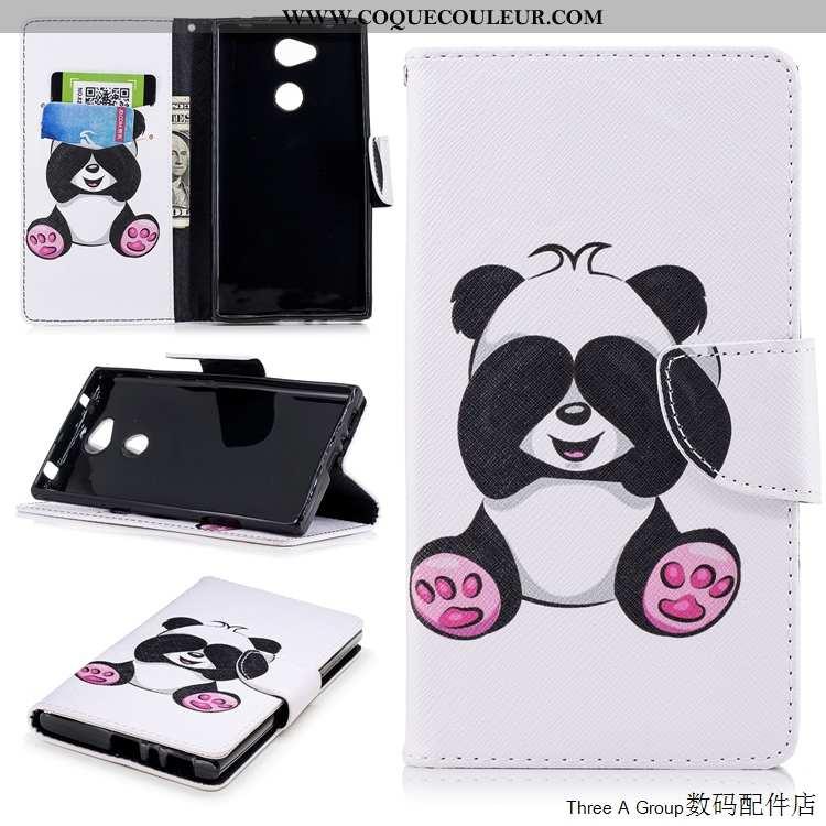 Coque Sony Xperia L2 Cuir Téléphone Portable Carte, Housse Sony Xperia L2 Fluide Doux Blanche