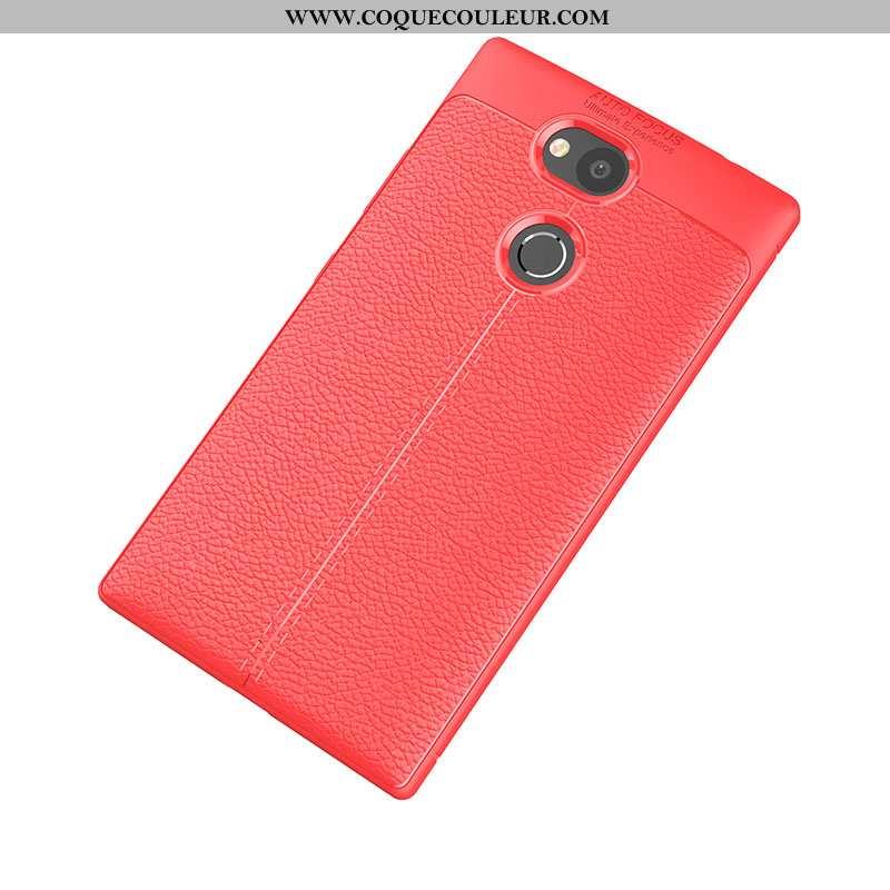Housse Sony Xperia L2 Cuir Protection Fluide Doux, Étui Sony Xperia L2 Modèle Fleurie Légère Rouge