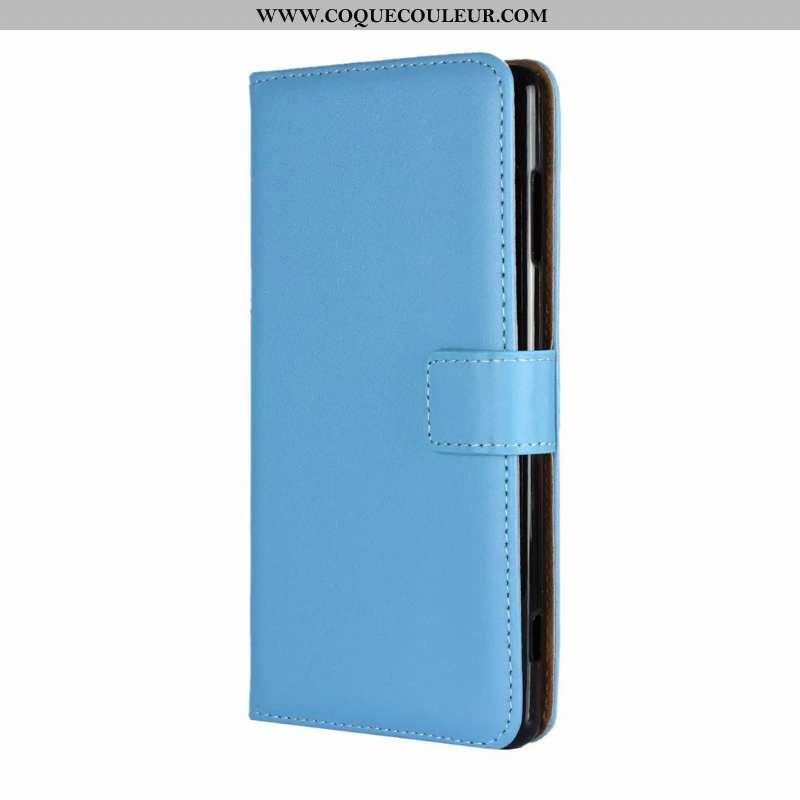 Coque Sony Xperia Xa Cuir Véritable Protection Incassable, Housse Sony Xperia Xa Cuir Étui Bleu