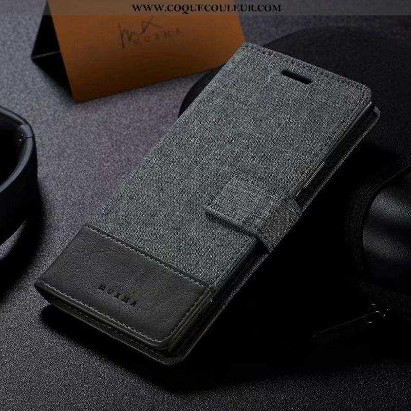 Étui Sony Xperia Xa Cuir Tissu Gris, Coque Sony Xperia Xa Gris
