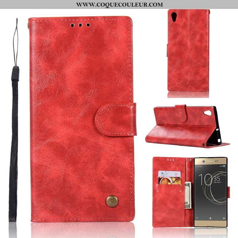 Coque Sony Xperia Xa1 Plus Protection Téléphone Portable Rouge, Housse Sony Xperia Xa1 Plus Cuir Rou