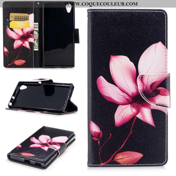 Housse Sony Xperia Xa1 Plus Dessin Animé Coque Noir, Étui Sony Xperia Xa1 Plus Cuir Clamshell Noir