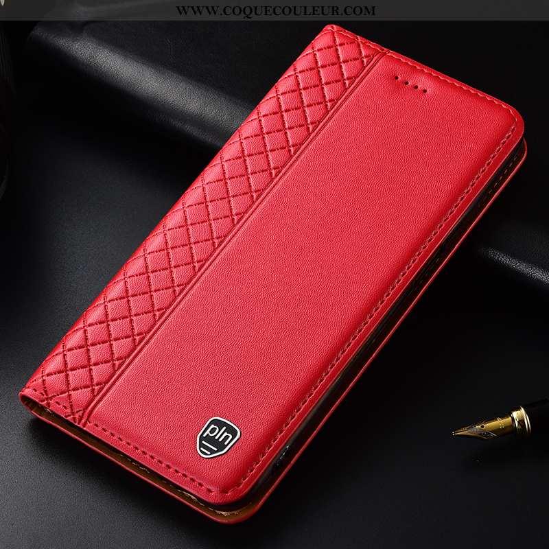 Coque Sony Xperia Xa1 Plus Cuir Véritable Rouge Téléphone Portable, Housse Sony Xperia Xa1 Plus Cuir