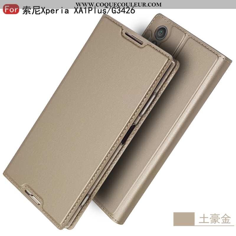 Coque Sony Xperia Xa1 Plus Protection Or Coque, Housse Sony Xperia Xa1 Plus Personnalité Cuir Doré