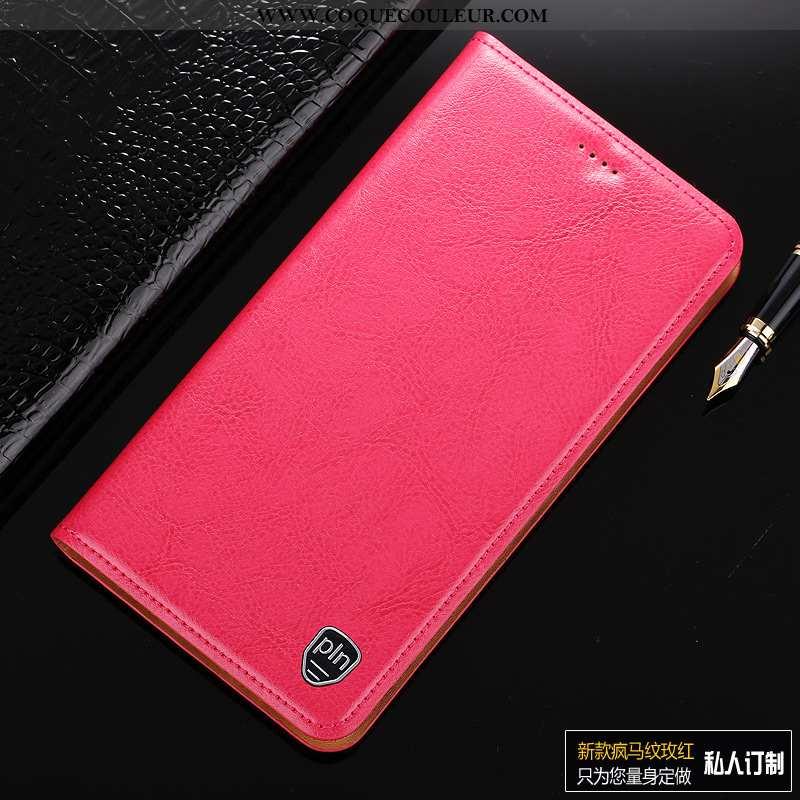 Étui Sony Xperia Xa1 Protection Incassable Luxe, Coque Sony Xperia Xa1 Cuir Véritable Rouge Rose
