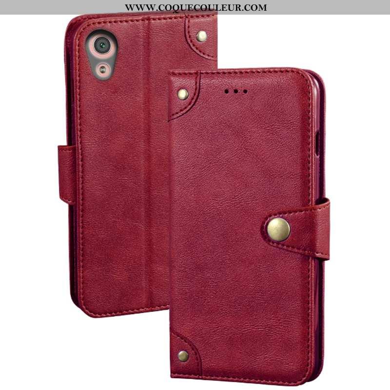 Étui Sony Xperia Xa1 Ultra Cuir Coque Téléphone Portable, Sony Xperia Xa1 Ultra Protection Rouge