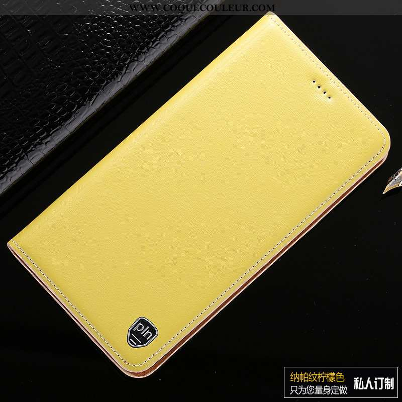 Housse Sony Xperia Xa1 Ultra Cuir Véritable Protection Jaune, Étui Sony Xperia Xa1 Ultra Cuir Jaune