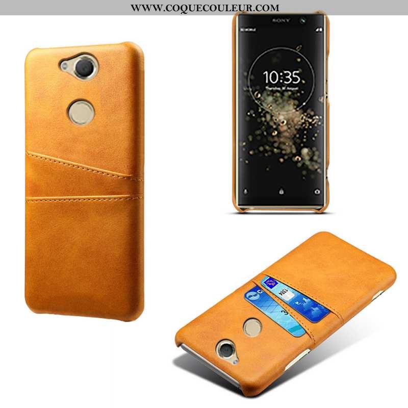 Coque Sony Xperia Xa2 Plus Cuir Qualité Étui, Housse Sony Xperia Xa2 Plus Carte Jaune