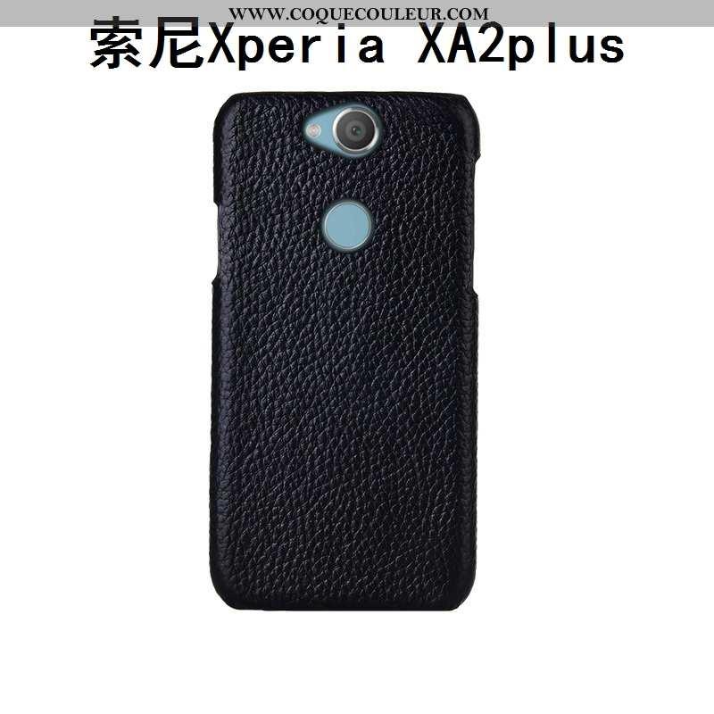 Housse Sony Xperia Xa2 Plus Cuir Véritable Étui Luxe, Sony Xperia Xa2 Plus Cuir Protection Noir