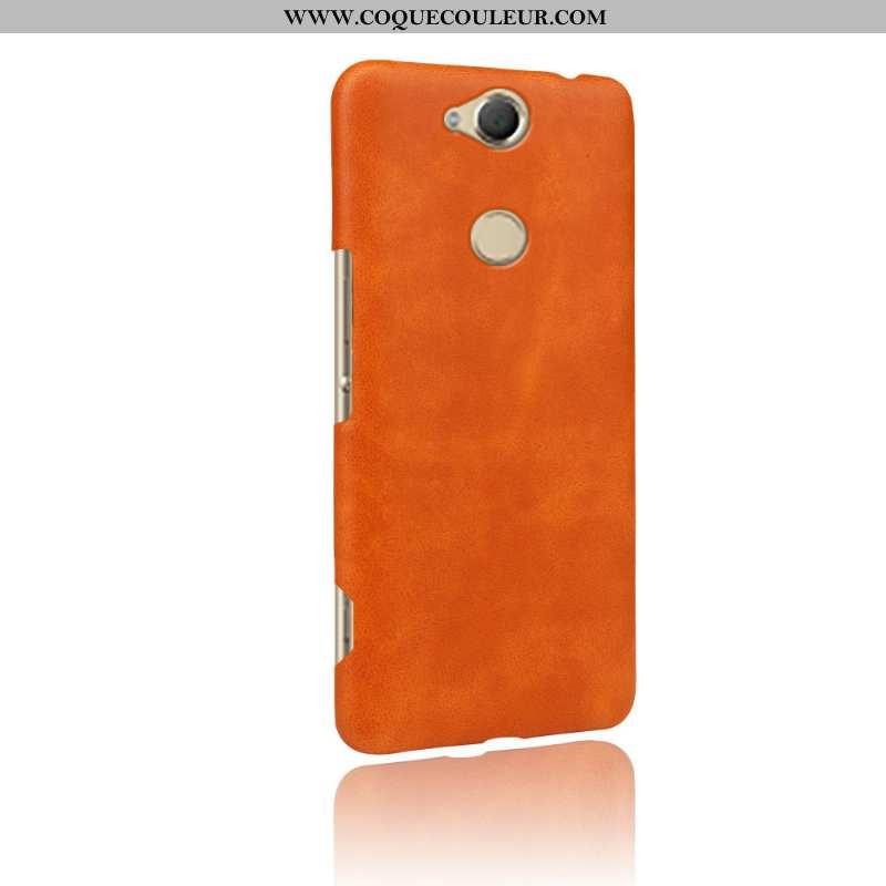 Coque Sony Xperia Xa2 Plus Cuir Qualité, Housse Sony Xperia Xa2 Plus Protection Orange