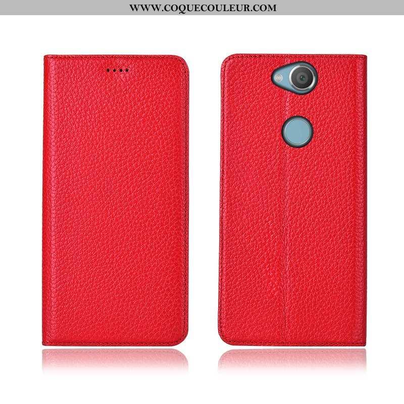 Coque Sony Xperia Xa2 Plus Silicone Rouge Cuir Véritable, Housse Sony Xperia Xa2 Plus Protection Tél