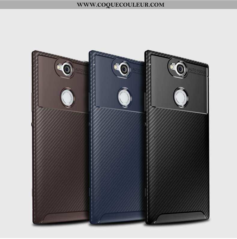 Étui Sony Xperia Xa2 Plus Silicone Coque, Coque Sony Xperia Xa2 Plus Modèle Fleurie Fibre Noir