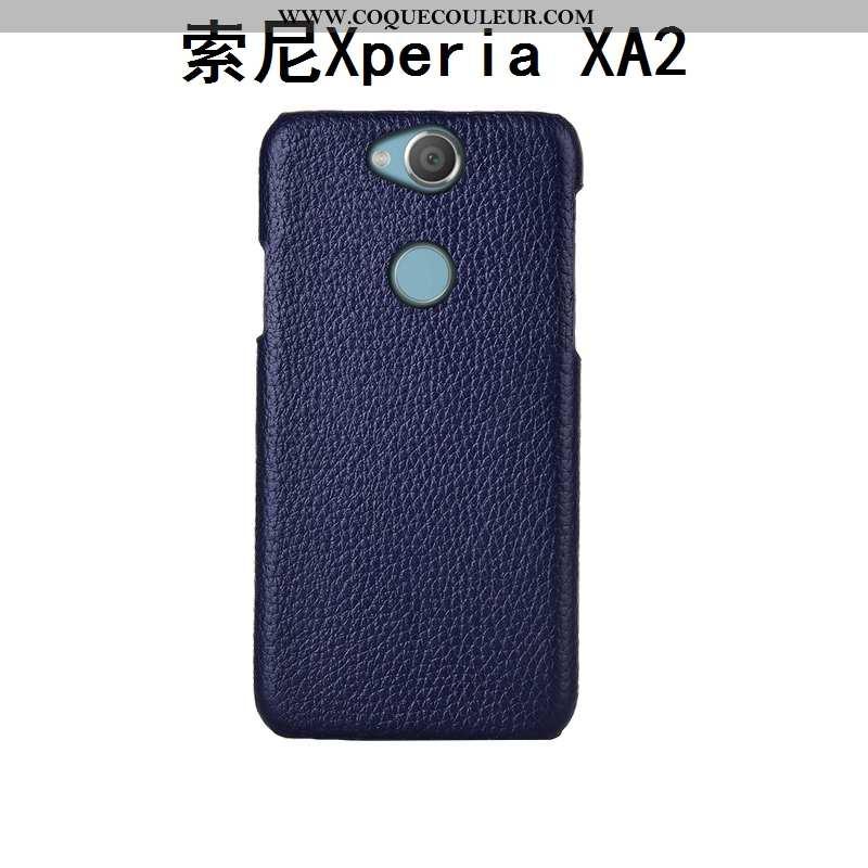 Coque Sony Xperia Xa2 Cuir Étui Personnalisé, Housse Sony Xperia Xa2 Mode Protection Bleu Foncé