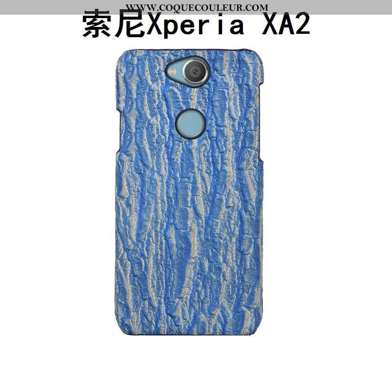 Housse Sony Xperia Xa2 Créatif Couvercle Arrière Bleu, Étui Sony Xperia Xa2 Cuir Véritable Téléphone
