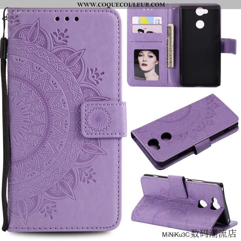 Étui Sony Xperia Xa2 Protection Violet Téléphone Portable, Coque Sony Xperia Xa2 Cuir