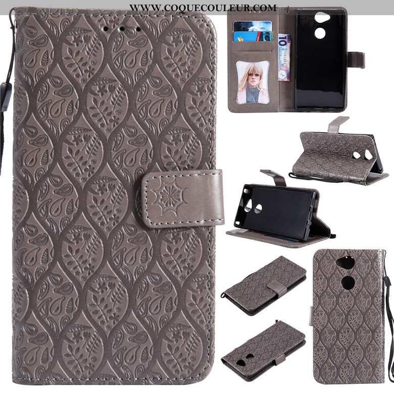 Housse Sony Xperia Xa2 Cuir Protection Téléphone Portable, Étui Sony Xperia Xa2 Fluide Doux Gris