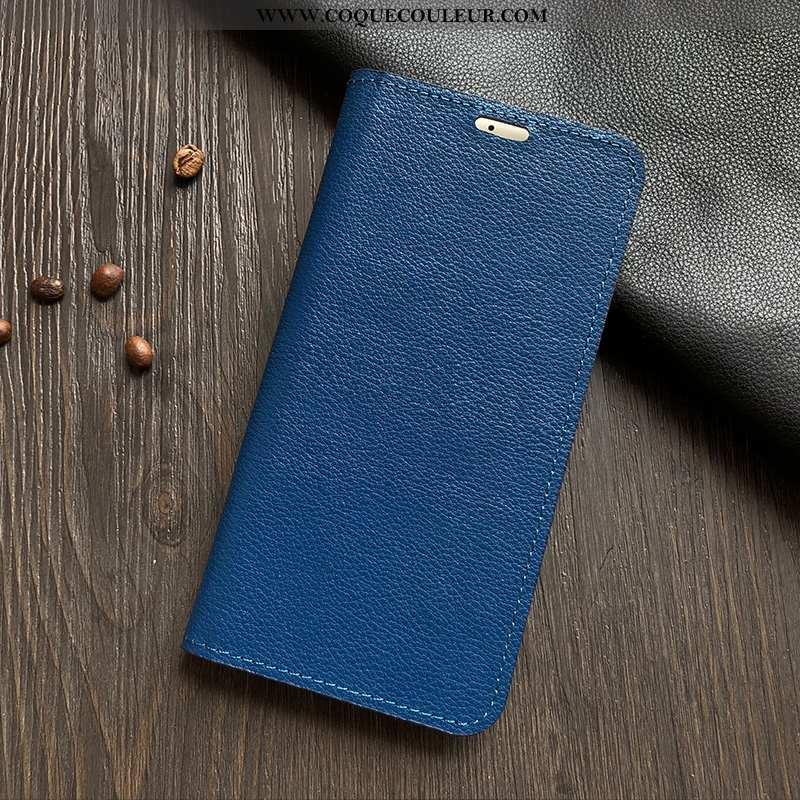 Housse Sony Xperia Xa2 Protection Téléphone Portable Coque, Étui Sony Xperia Xa2 Cuir Véritable Bleu