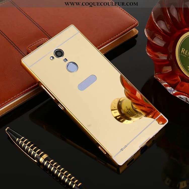 Étui Sony Xperia Xa2 Ultra Métal Miroir Border, Coque Sony Xperia Xa2 Ultra Protection Or Doré