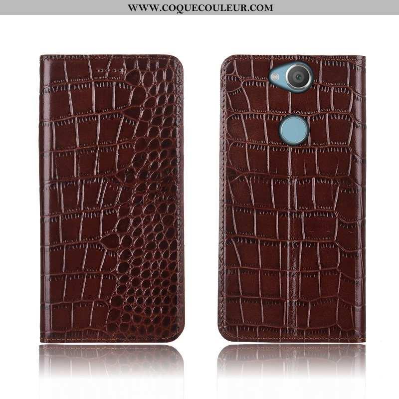 Housse Sony Xperia Xa2 Ultra Cuir Véritable Étui Crocodile, Sony Xperia Xa2 Ultra Cuir Nouveau Marro