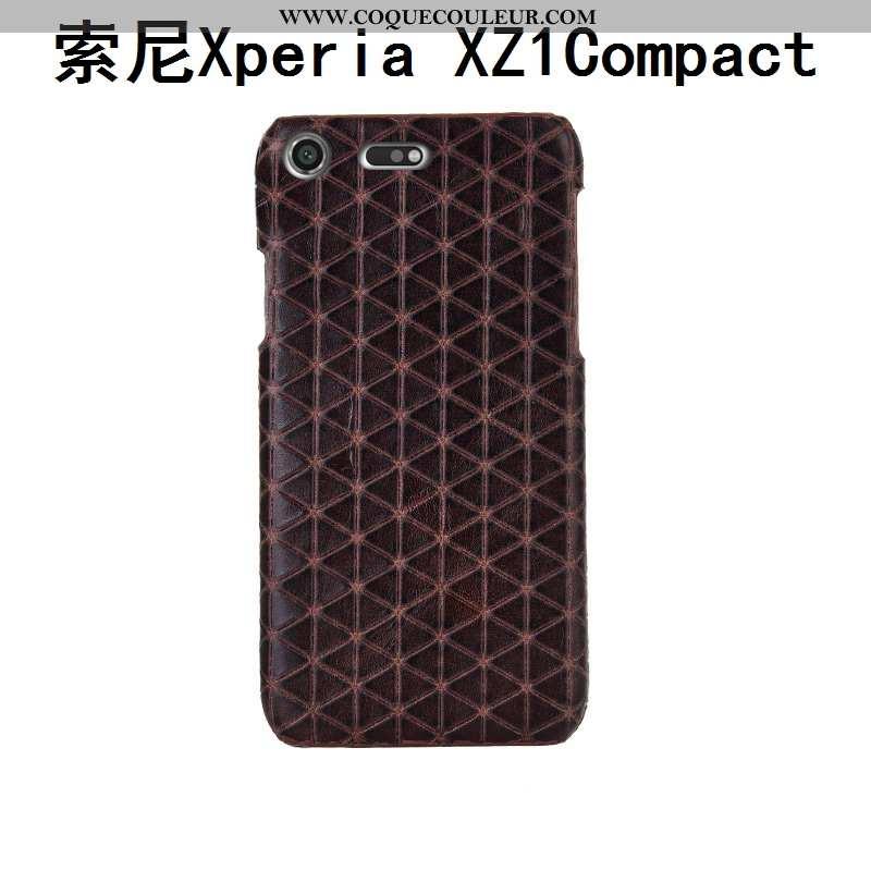 Housse Sony Xperia Xz1 Compact Cuir Véritable Étui Marron, Sony Xperia Xz1 Compact Mode Coque Marron