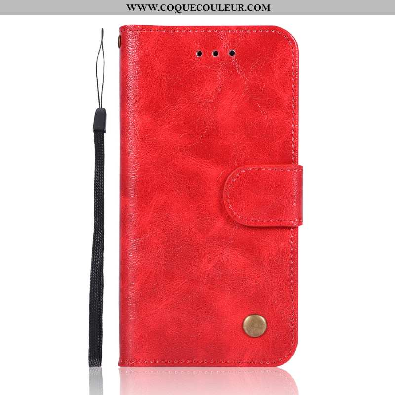 Étui Sony Xperia Xz1 Compact Vintage Rouge Cuir, Coque Sony Xperia Xz1 Compact Portefeuille Carte