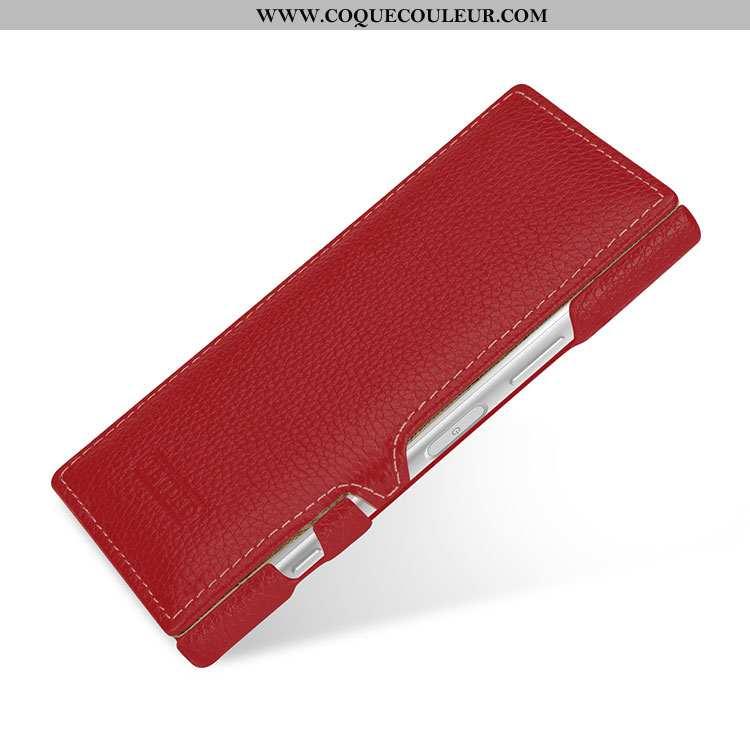 Coque Sony Xperia Xz1 Compact Cuir Véritable Téléphone Portable Rouge, Housse Sony Xperia Xz1 Compac